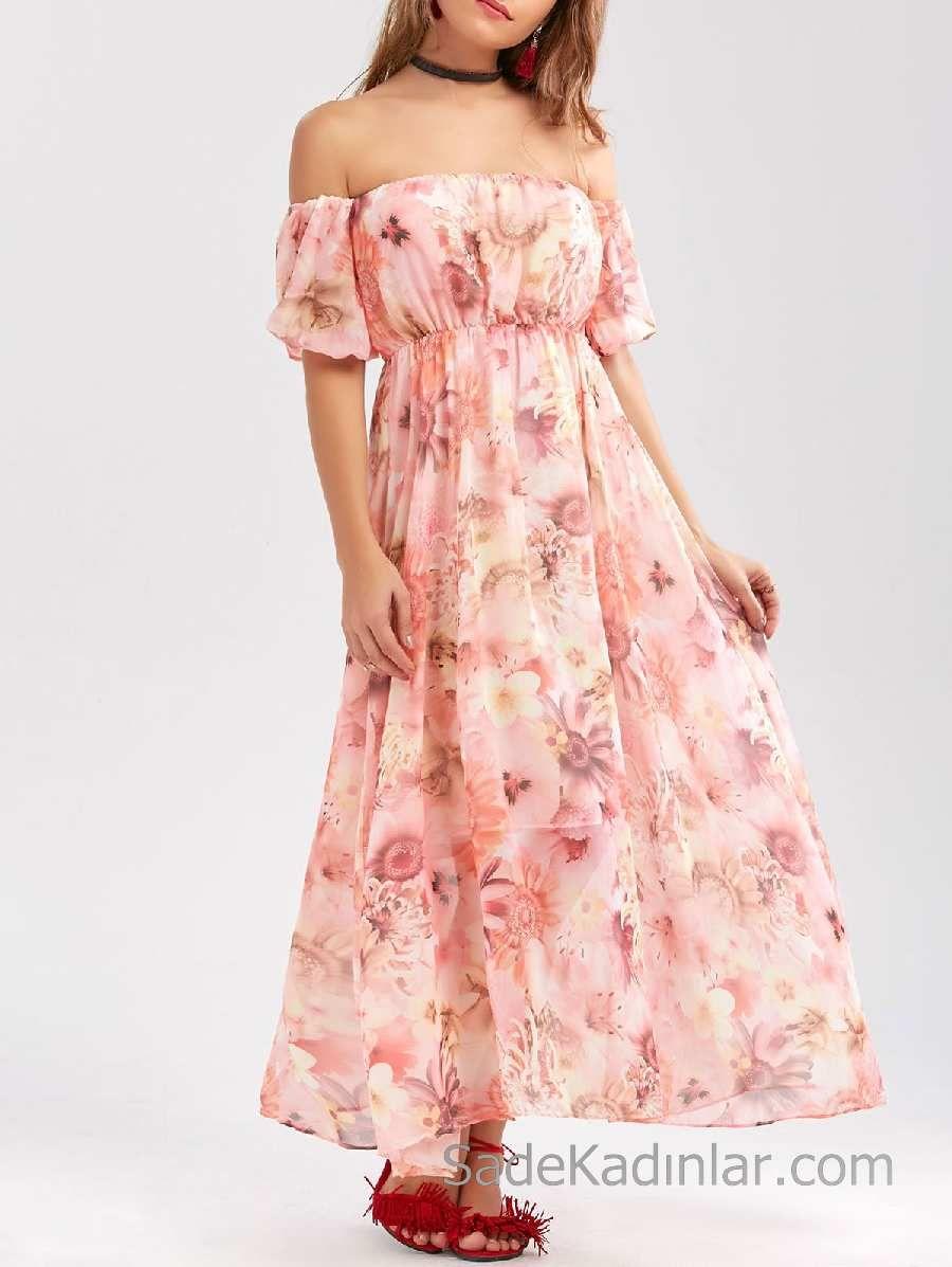 2020 Yazlik Cicekli Sifon Elbise Modelleri Pembe Uzun Straplez Dusuk Kol Cicekli The Dress Sifon Elbise Elbise Modelleri