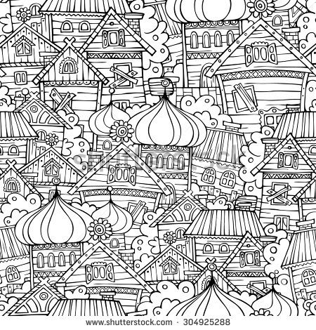 cartoon fairy tale drawing russian village sketchy seamless pattern color me. Black Bedroom Furniture Sets. Home Design Ideas