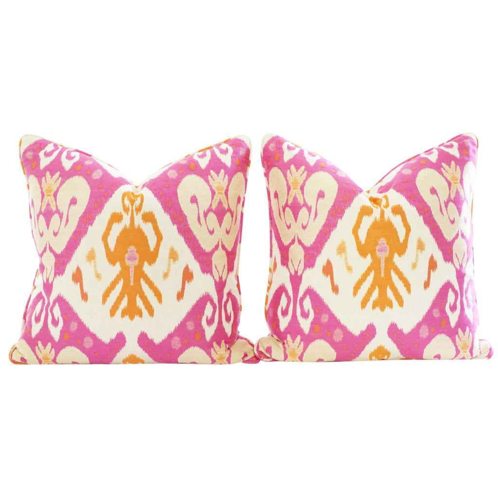 Pink and Orange Ikat Pillows, Pair | Ikat, Pillows and Room