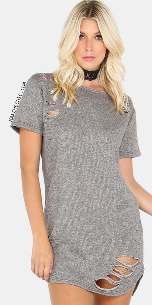 2efcac9fb5a Distressed Terry Cloth T-Shirt Dress HEATHER GREY