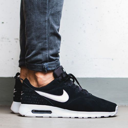 new concept 3890e 8c97e NIKE-AIR-MAX-TAVAS-LEATHER-SUEDE-BLACK-WHITE-MENS-SHOES -802611-001-NEW-SNEAKERS