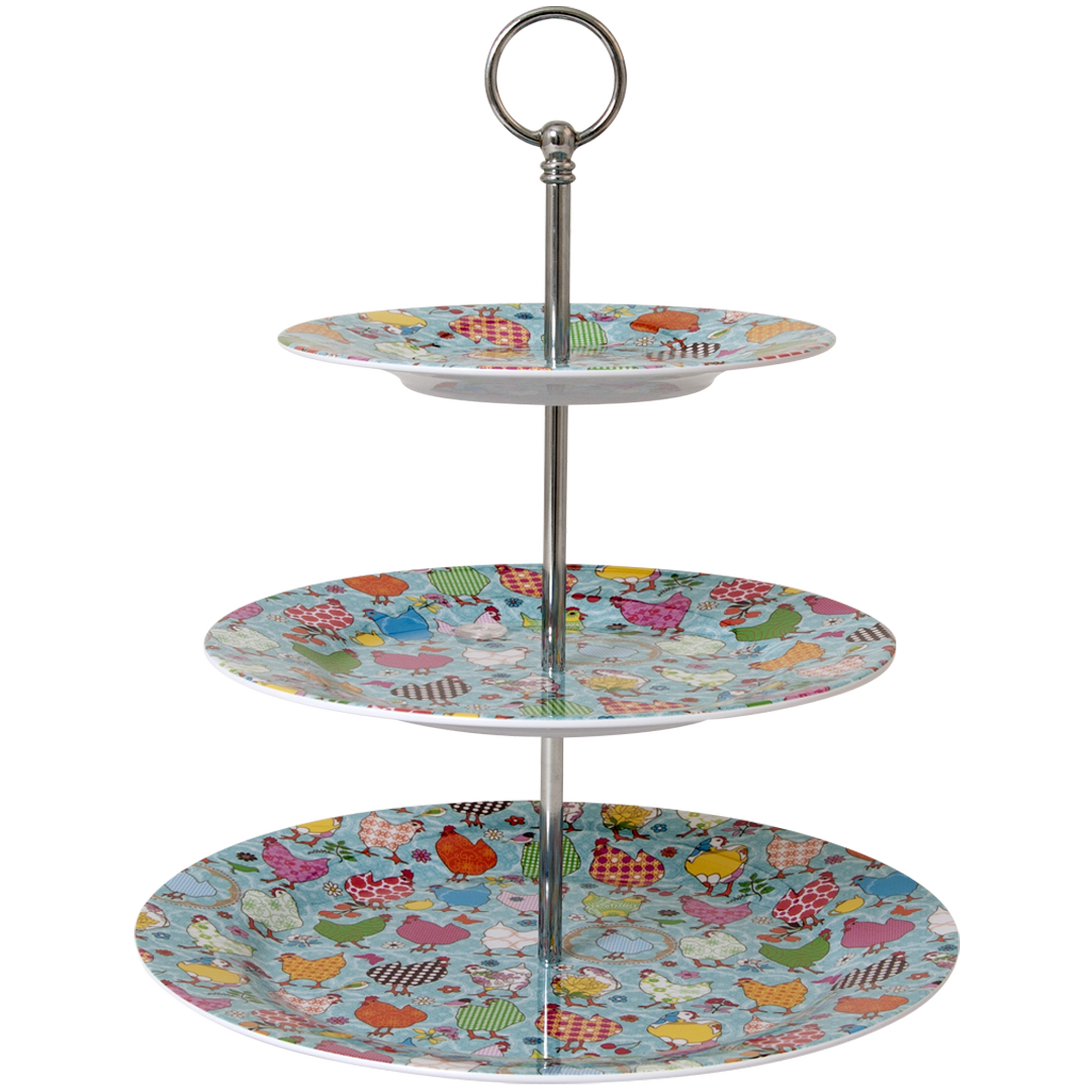 3 Tiered Melamine Cake Stand with Hen Print
