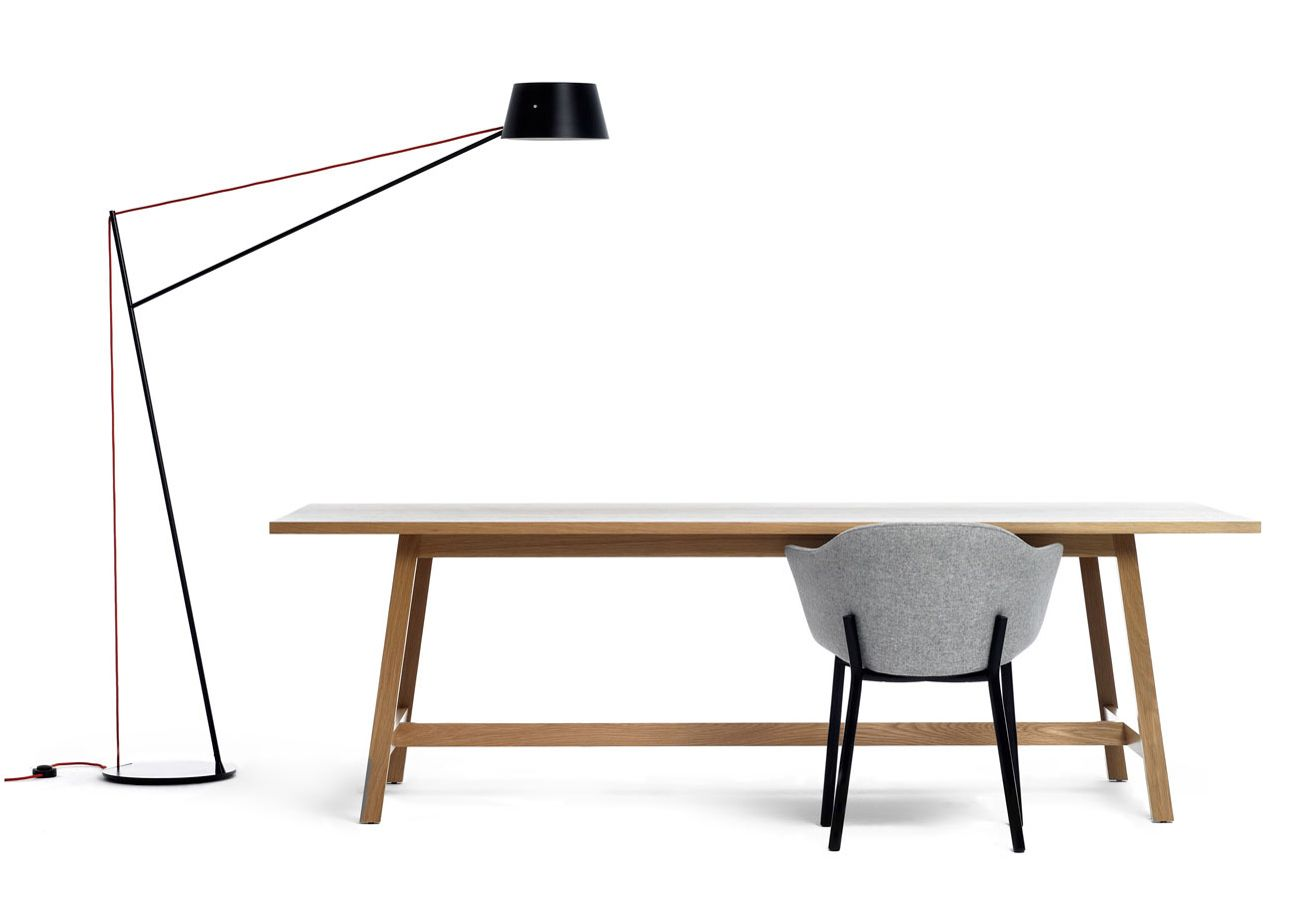 Hawk table and Felix chair by Simon James and Spar floor lamp by Jamie Mclellan for Resident.
