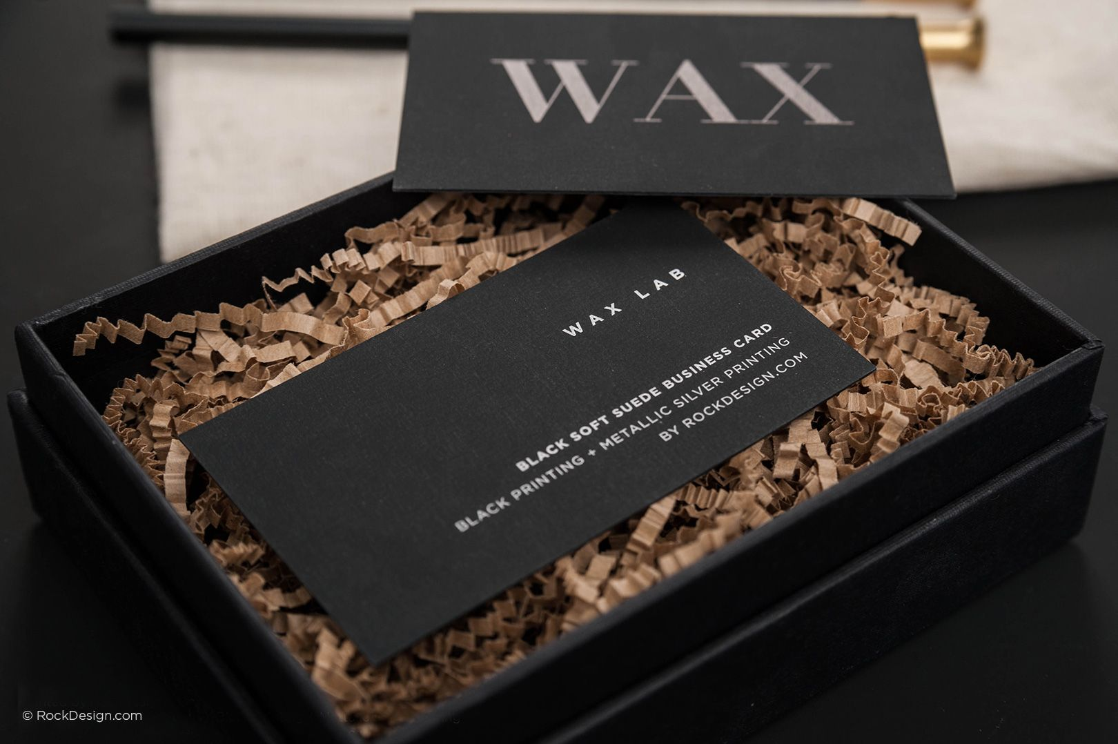 Modern minimalistic black suede business card with metallic ink ...
