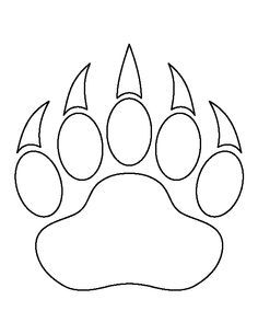 Bear paw print pattern Use the printable outline for crafts
