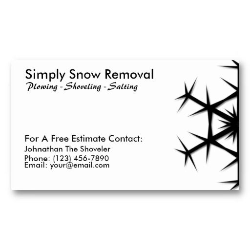 Simple Snow Shoveling Plowing Removal Card Business Template