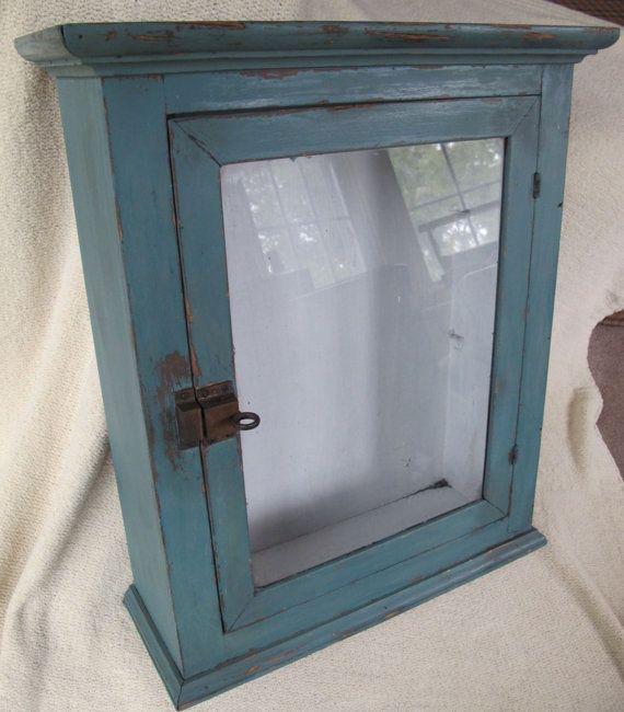 Antique Medicine Cabinet, Glass Door, Original Brass Slide