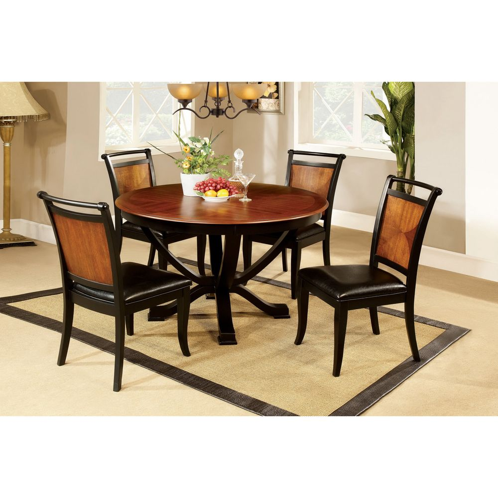Furniture of America Lyda Acacia Wood/ Black 5-piece Dining Set by ...