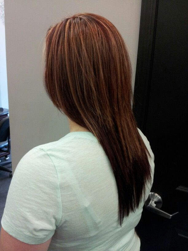 Partial Blonde Highlight And Garnet Red Hair Color My Work