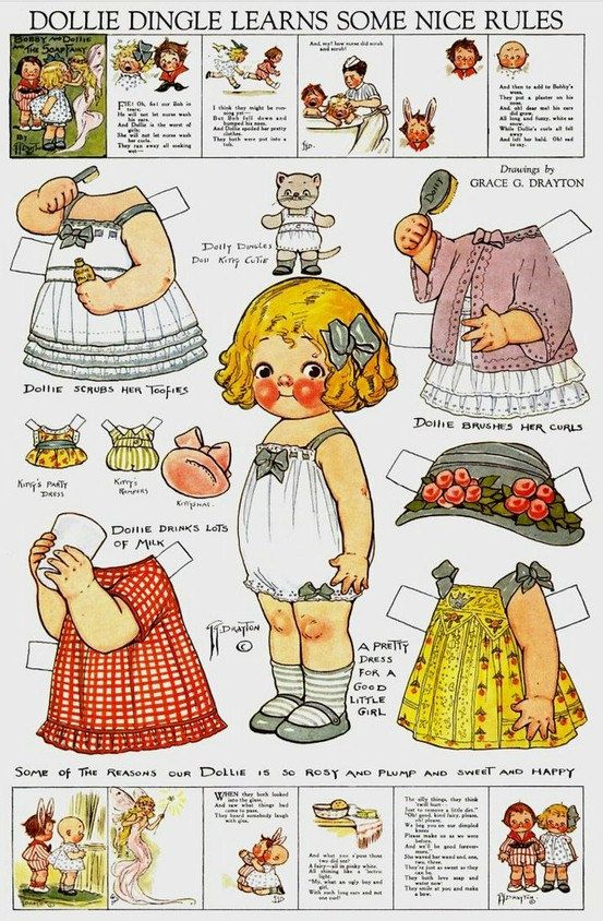 Uncut Dolly Dingle Paper Dolls by Grace G Drayton - Pack 1 * 1500 paper dolls at International Paper Doll Society by artist Arielle Gabriel ArtrA QuanYin5 Linked In QuanYin5 Twitter *
