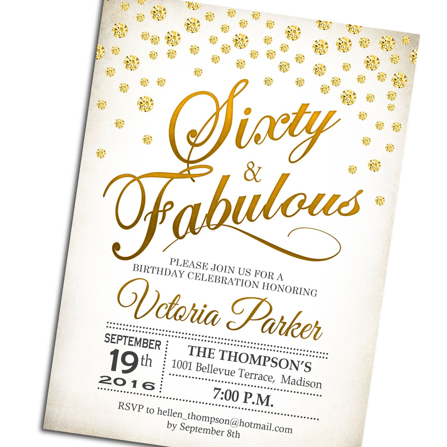60th Birthday Invitation / Sixty and Fabulous / Any Age / Gold White ...
