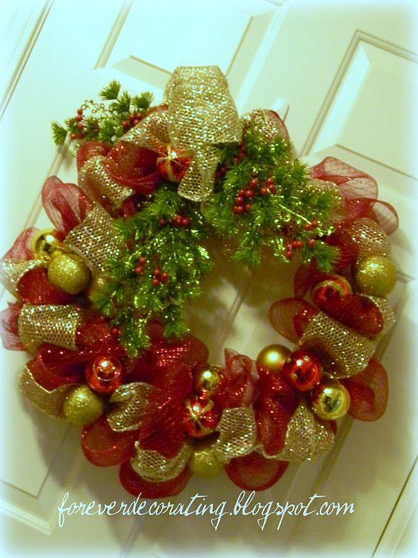 Deco Mesh Christmas Decorations Step 3 Wrap Narrow Mesh Ribbon Up