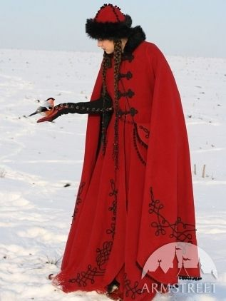 Balkanic Medieval Costume - Red Wool, Black Fur, Black Embroideries