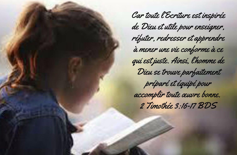 Car toute l'Ecriture est inspirée de Dieu et utile pour enseigner ...