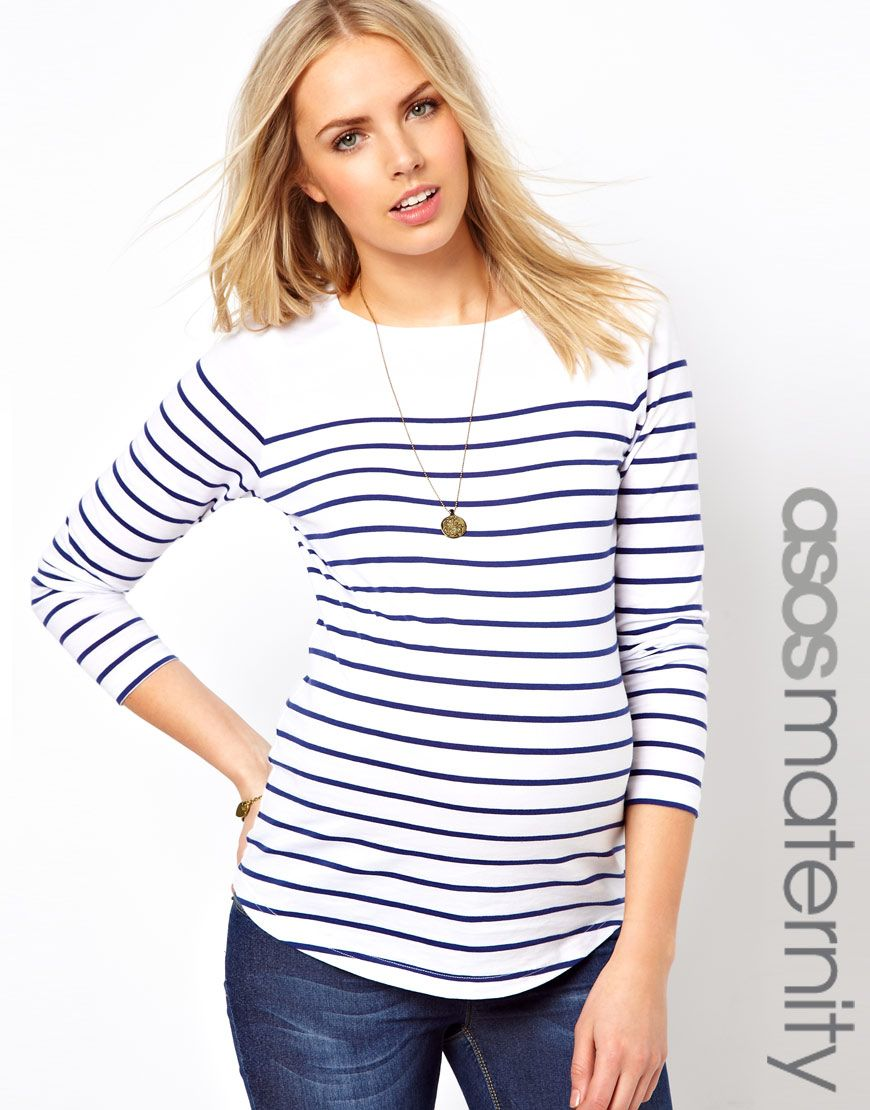 27ab42c1a5f1 ASOS Maternity Exclusive Top in Cotton Breton Stripe With 3 4 Sleeve ...