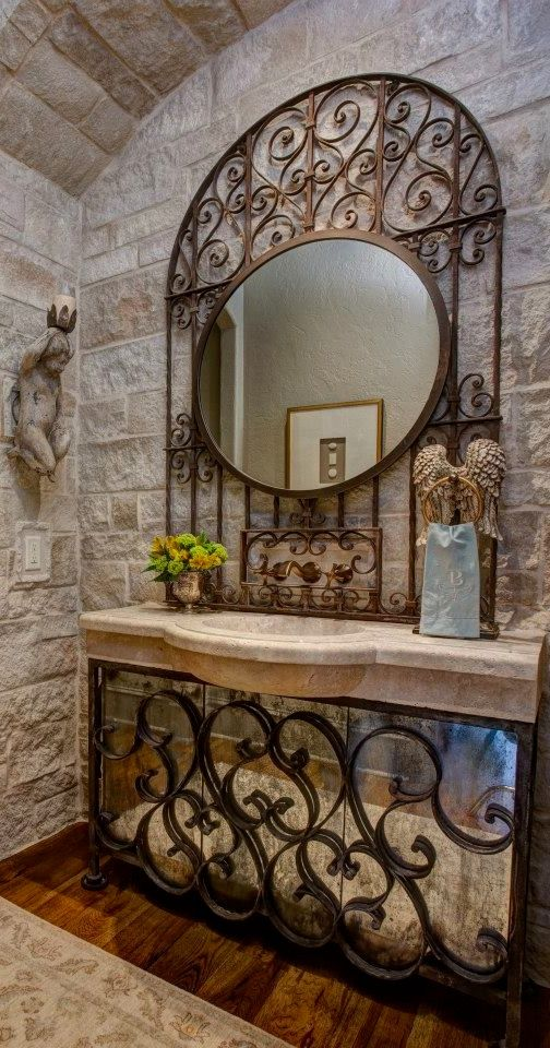 Wrought iron mirror and counter accents lovely and - Herreria ark ...