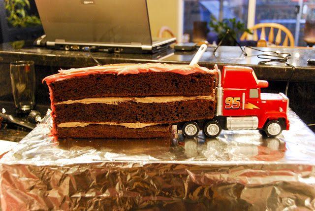 Homemakin Girl make Cars Birthday Cake MACK the Truck cakes