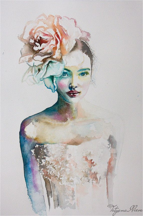 acuarela-chica con flor en el pelo