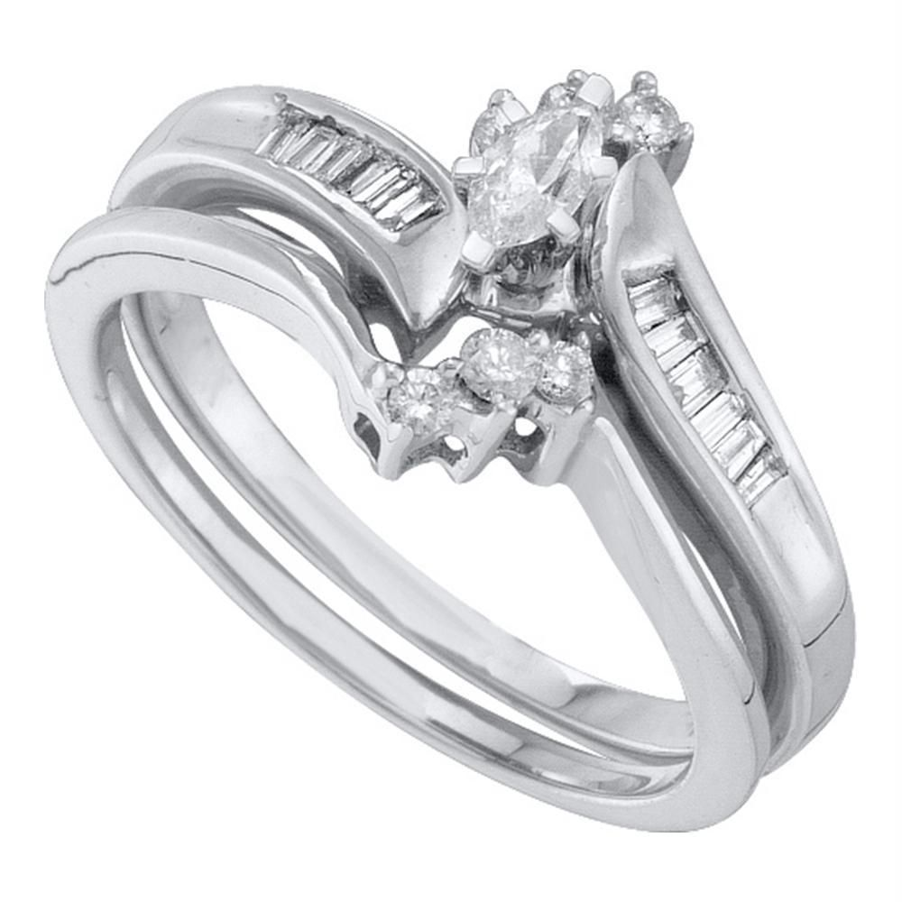 10kt white gold womens marquise diamond solitaire bridal