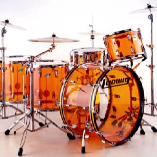 "Ludwig Vistalite ""John Bonham"" drum kit."