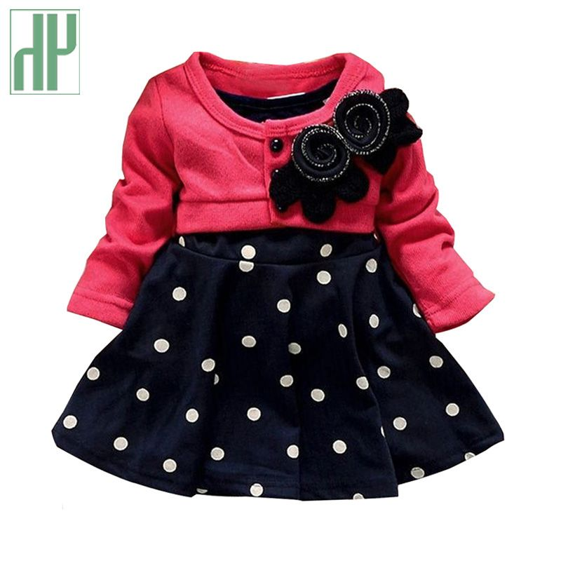 Newborn Baby Kids Girls Long Sleeve Ruffles Patchwork Dress Princess Clothes