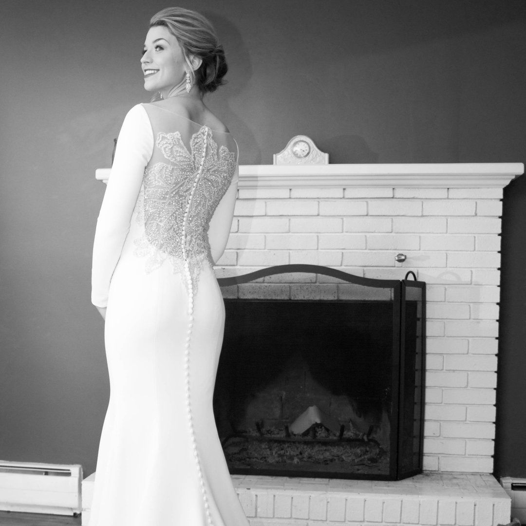 bb881d27dfb4 Style 8936: Crepe Long Sleeved Wedding Dress with Beaded Illusion Back | Justin  Alexander