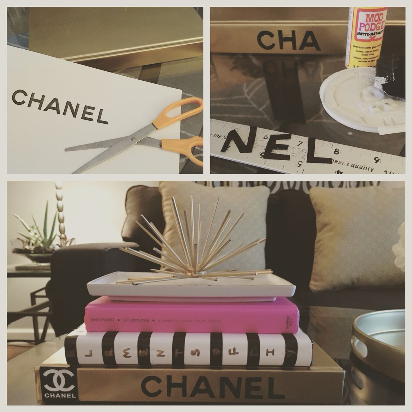 A little coffee table decor this is my version of a chanel book a little coffee table decor this is my version of a chanel book i used a large soup recipe book spray painted it gold printed and cut out the chanel geotapseo Choice Image