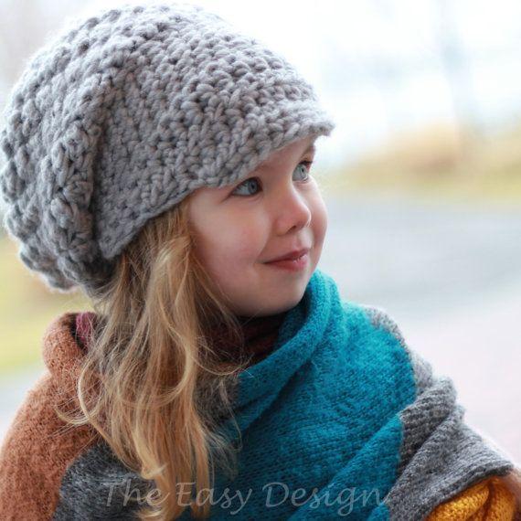 Crochet pattern, Patron de crochet –Emily Slouchy Beanie Hat Bonnet ...