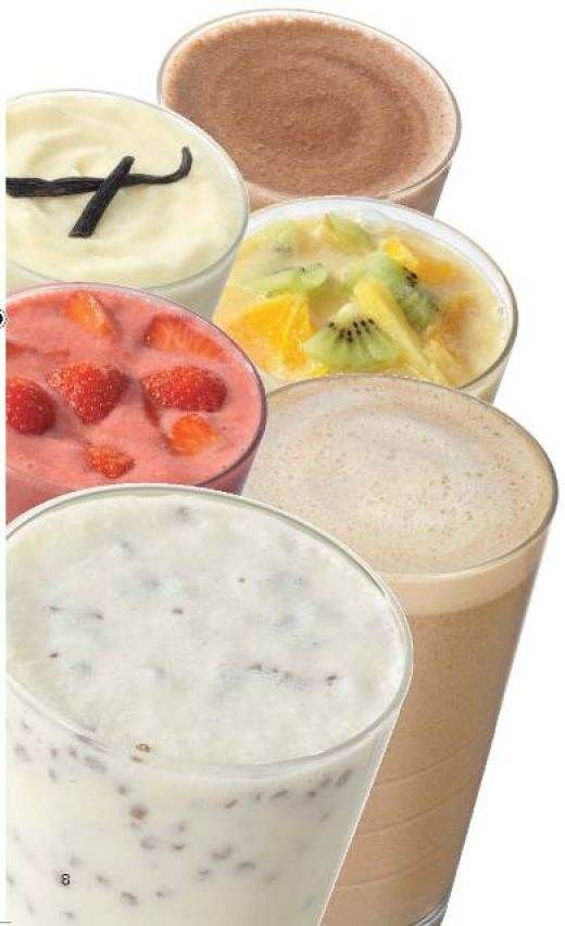 several healthy shake recipes (Apricot Pineapple Strawberry Shake, Tropical Protein Shake, Fruit And Bran Protein Shake, Lemon Cheese Cake And Strawberry Shake)