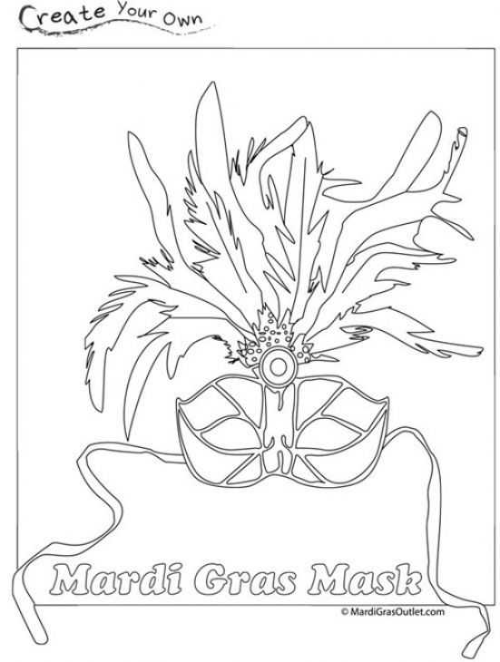 A Mardi Gras Masks With Colorful Feathers Coloring Page