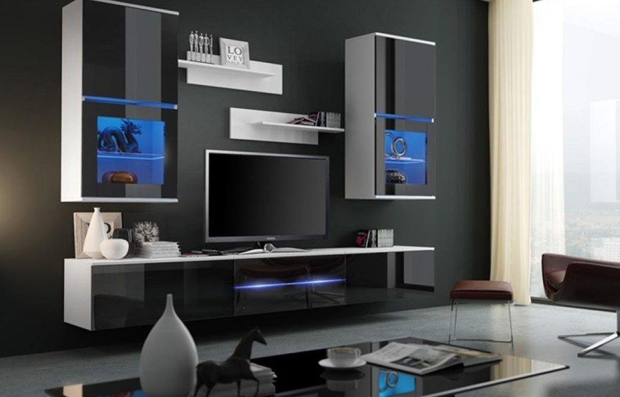 Mueble de salón comedor Margo - blanco&negro brillante » Prime-Home ...