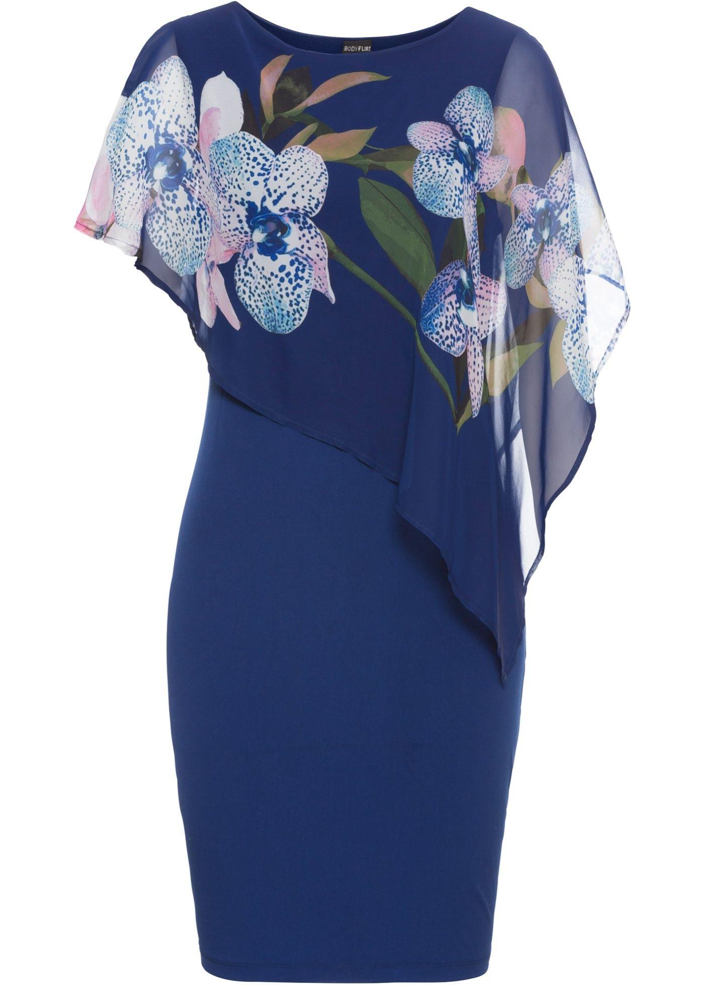 Prachtige jurk met een gedessineerd laagje chiffon