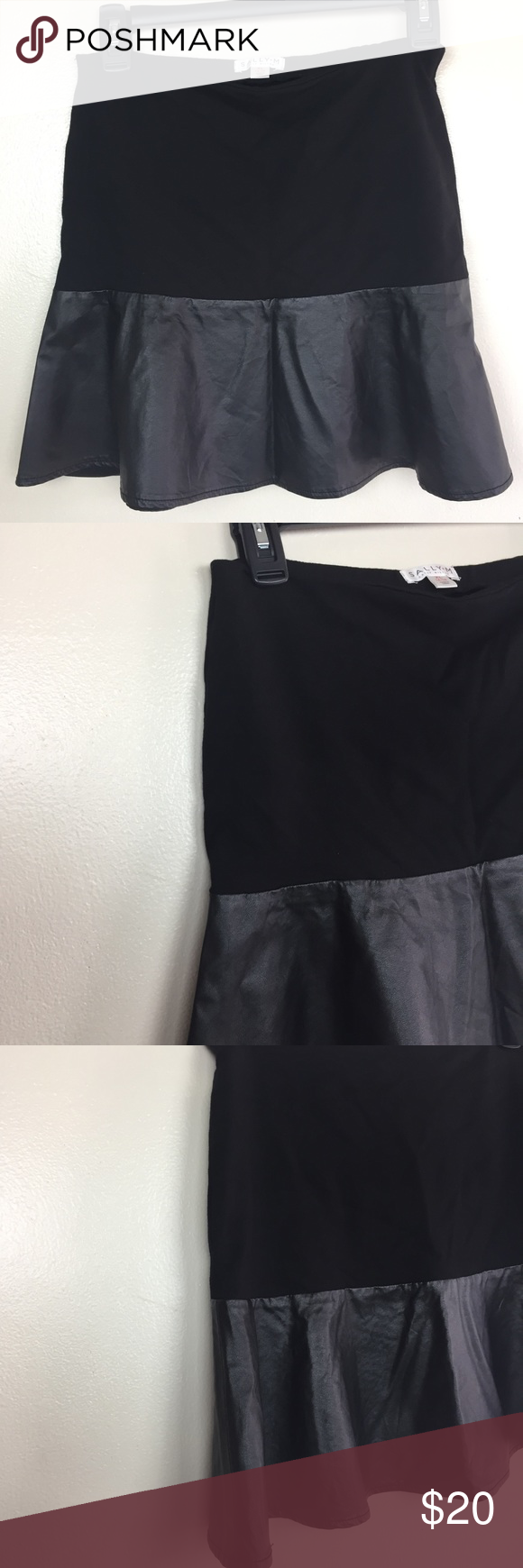 "Sally Miller | Faux Leather Mini Skirt Women's mini skater skirt •Size: XL on tag, but fits more like a medium •Brand: Sally Miller •Color: black  •Faux Leather do not stretch, but the fabric has stretched to it •The fabric is black and the faux leather is a shiny black •Has a sheer blouse like material to line the skirt •Fabric & Faux Leather is Soft  •Two tone skirt •Elastic at waist band  •Pre-owned, excellent condition •Measurement: width 13 1/2"" at waist, width 18"" (at start of leather), wi #sallymiller"