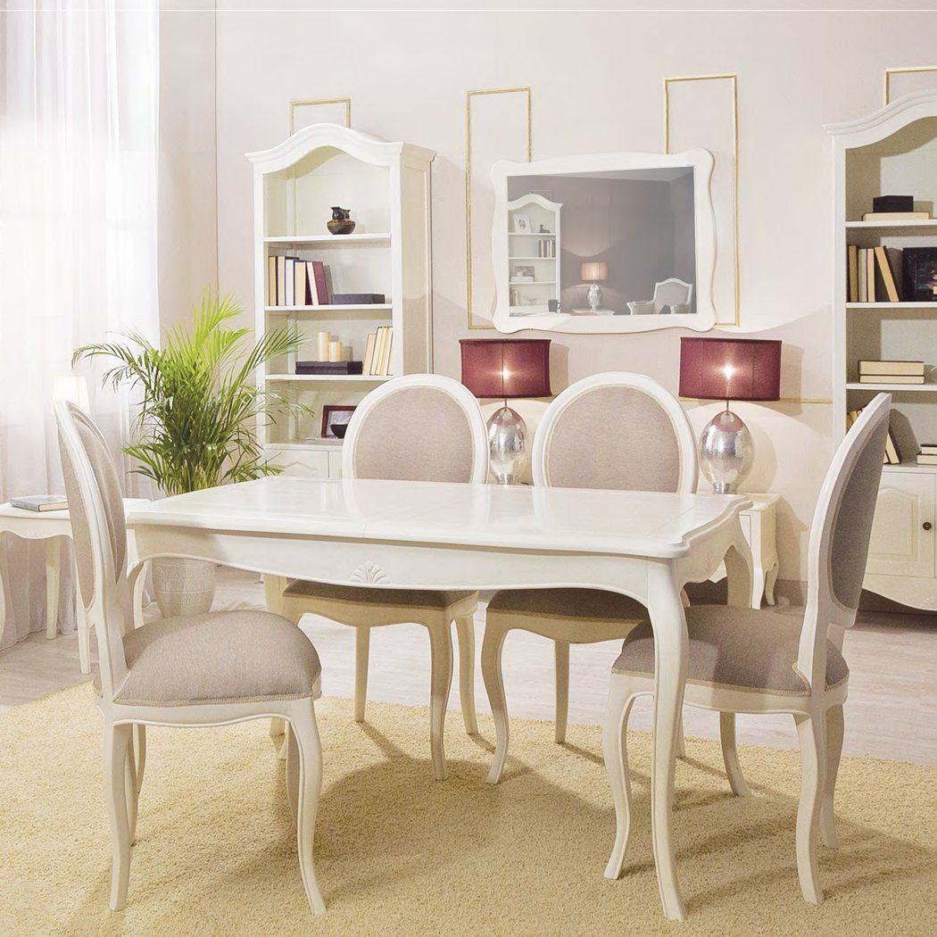 Mesa de comedor extensible provenzal paris blanca for Muebles decoracion online