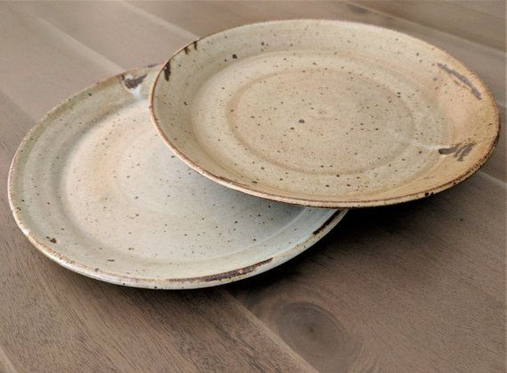 Clay Pottery Plates Pair of Vintage Rustic Plates Matte Glazed Stoneware Clay Pottery Deep Dish Plate