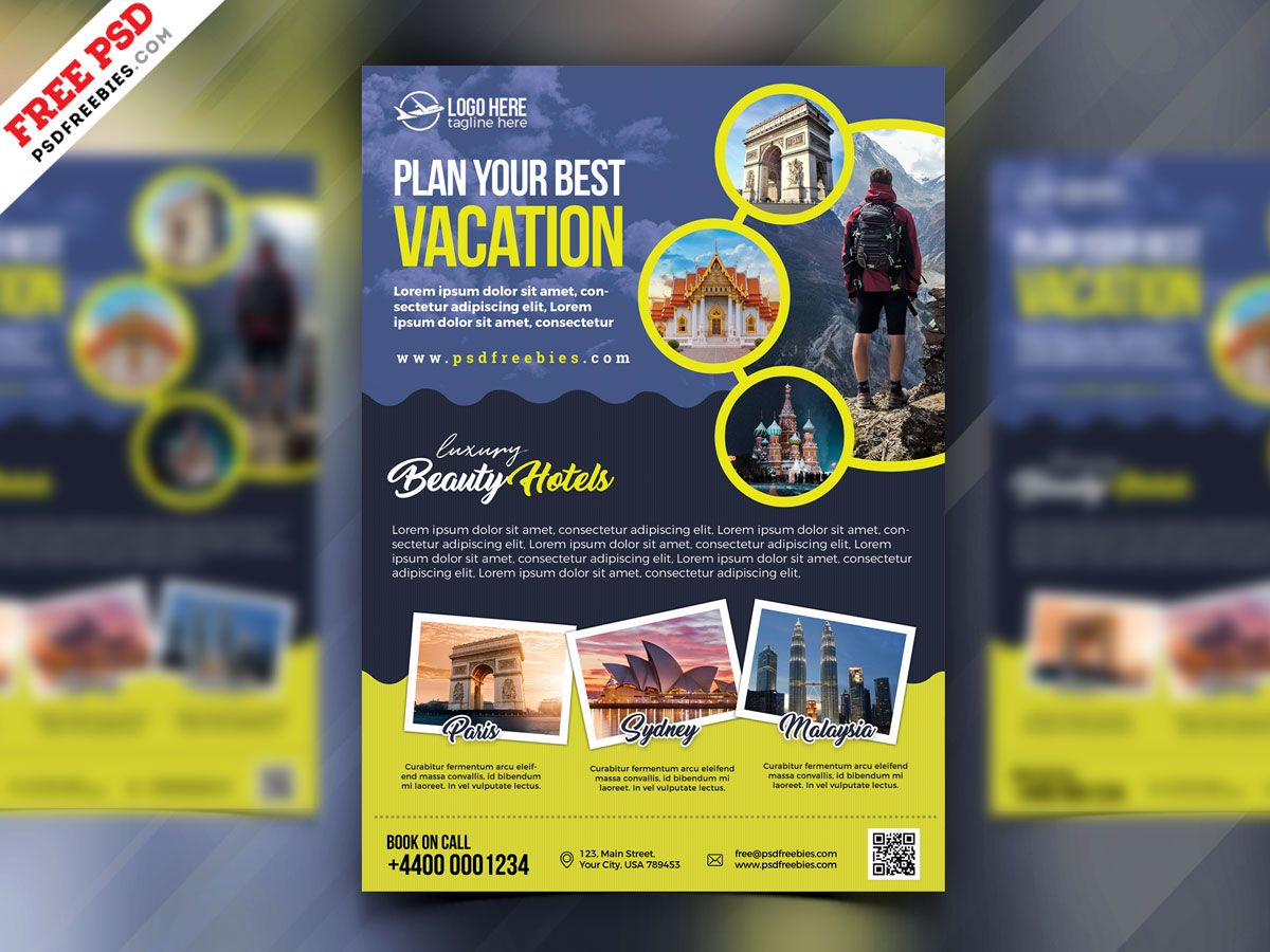 Travel Agency Advertisement Flyer PSD is part of Free psd flyer, Free psd flyer templates, Psd flyer templates, Travel agency, Flyer template, Flyer - Here is Travel Agency Advertisement Flyer PSD  This Travel Agency Advertisement Flyer PSD perfect for promoting for tour operators and travel agents specialist in day tours, tour packages, vacation