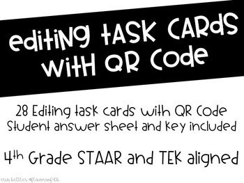 Editing Task Cards With QR Code - STAAR Aligned | Task ...