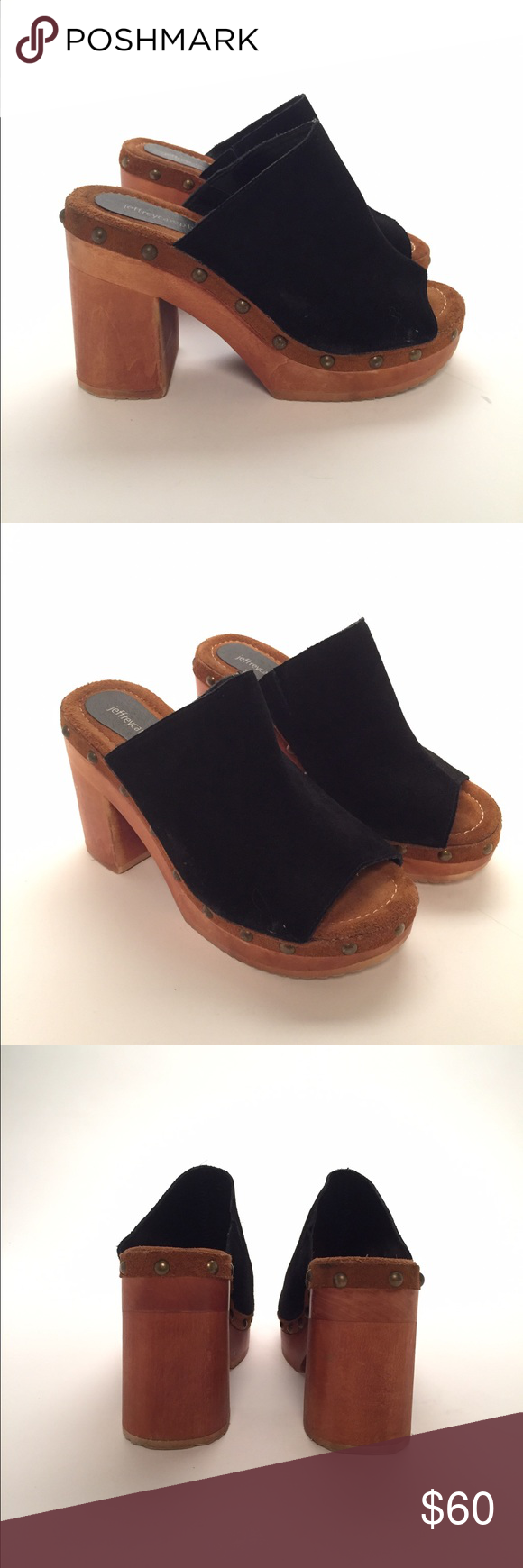 Jeffery Campbell clogs So cute worn once Jeffery Campbell clogs. Classic style and real suede and wooden build. Jeffrey Campbell Shoes Mules & Clogs