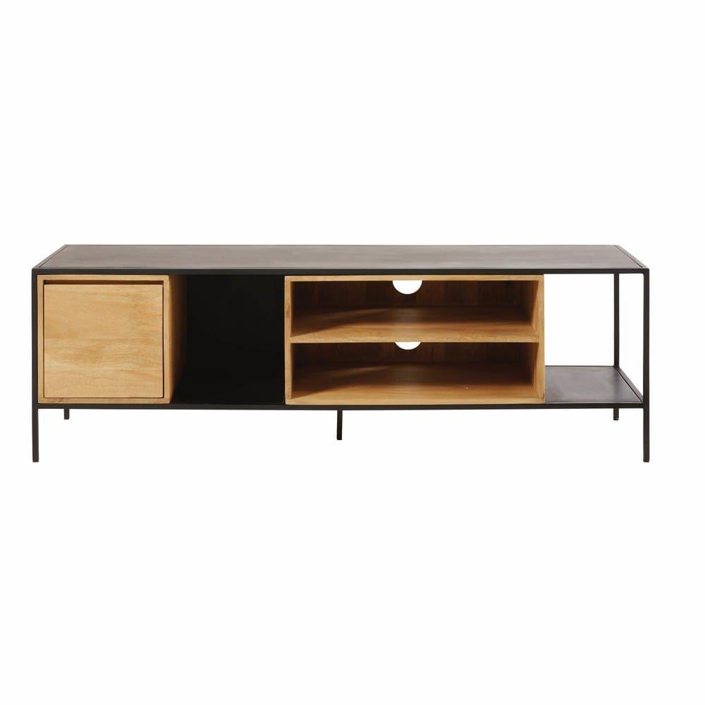 Solid Mango Wood And Black Metal 1 Door Tv Cabinet Wood Cabinets