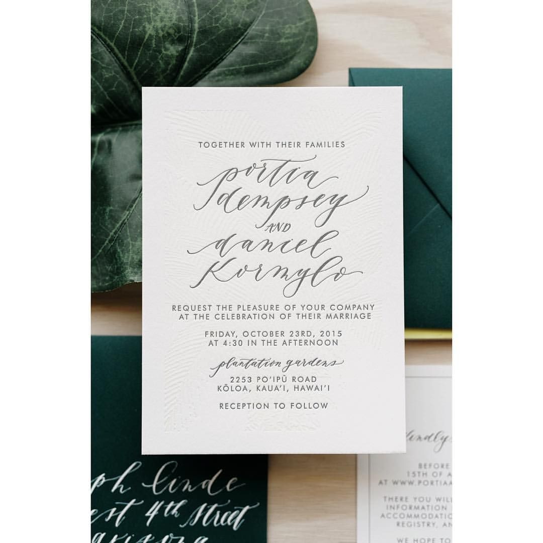 Tropical Hawaii Wedding Invitation by Cast Calligraphy ...