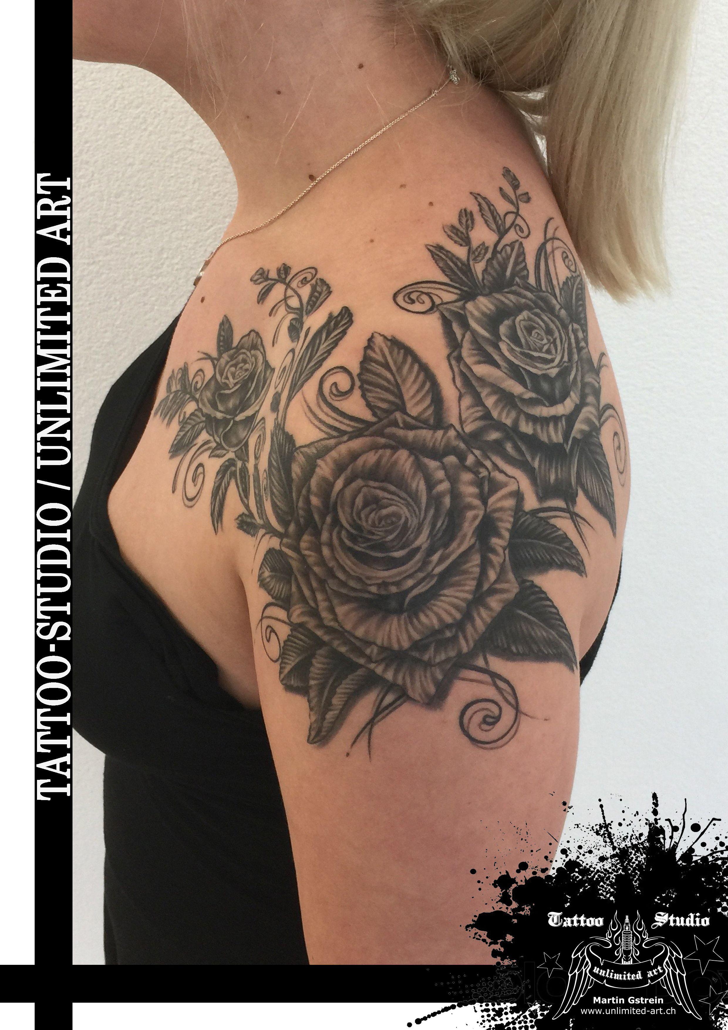 Black Grey Rose Flourish Tattoo Rosen Mit Schnorkel Bluhen Tattoo Tatowierungen Schnorkel Tattoo