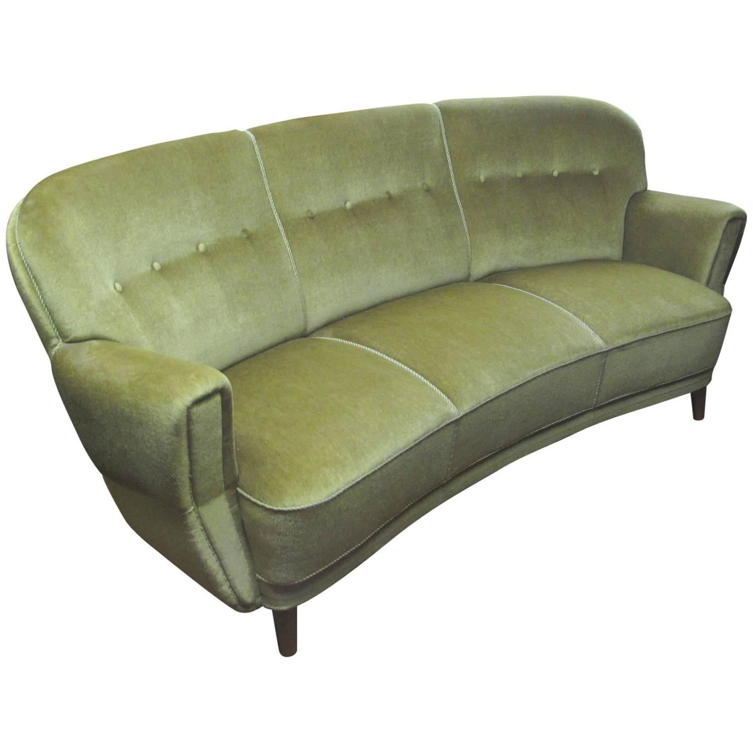 Danish 1930S 1940S Curved Mohair Upholstered Sofa - From A Unique