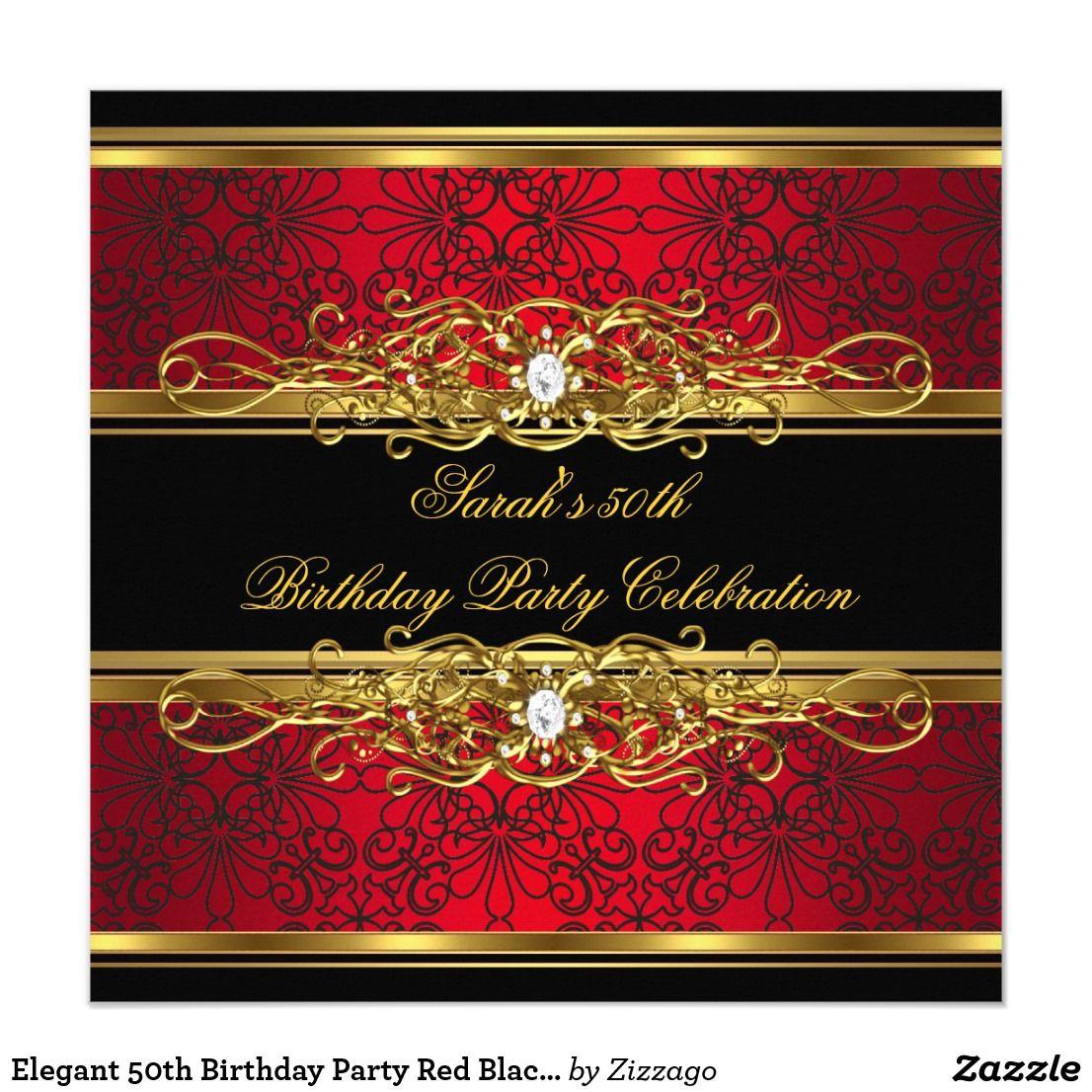 Elegant 50th Birthday Party Red Black Gold Damask Invitation   Zazzle.com   Black  gold party, Damask invitations, 50th birthday invitations