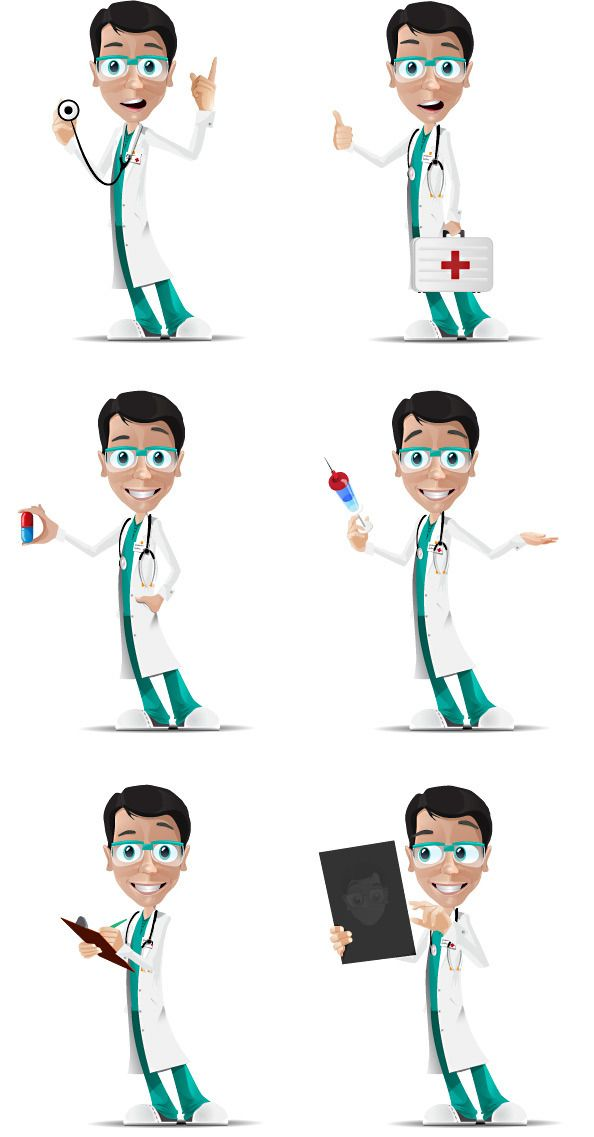 Doctor Character in 6 Poses Free Vector | Free Vectors | Character