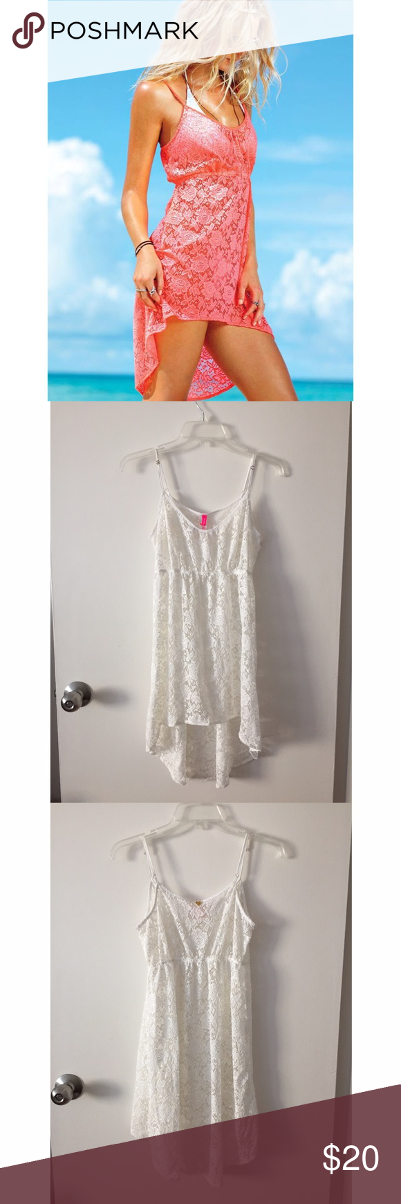 ☀️SUMMER READY☀️ Victoria's Secret lace cover up Victoria's Secret white lace beach cover up with high/low hem. Worn once. Size P which is the equivalent of S. Victoria's Secret Swim Coverups