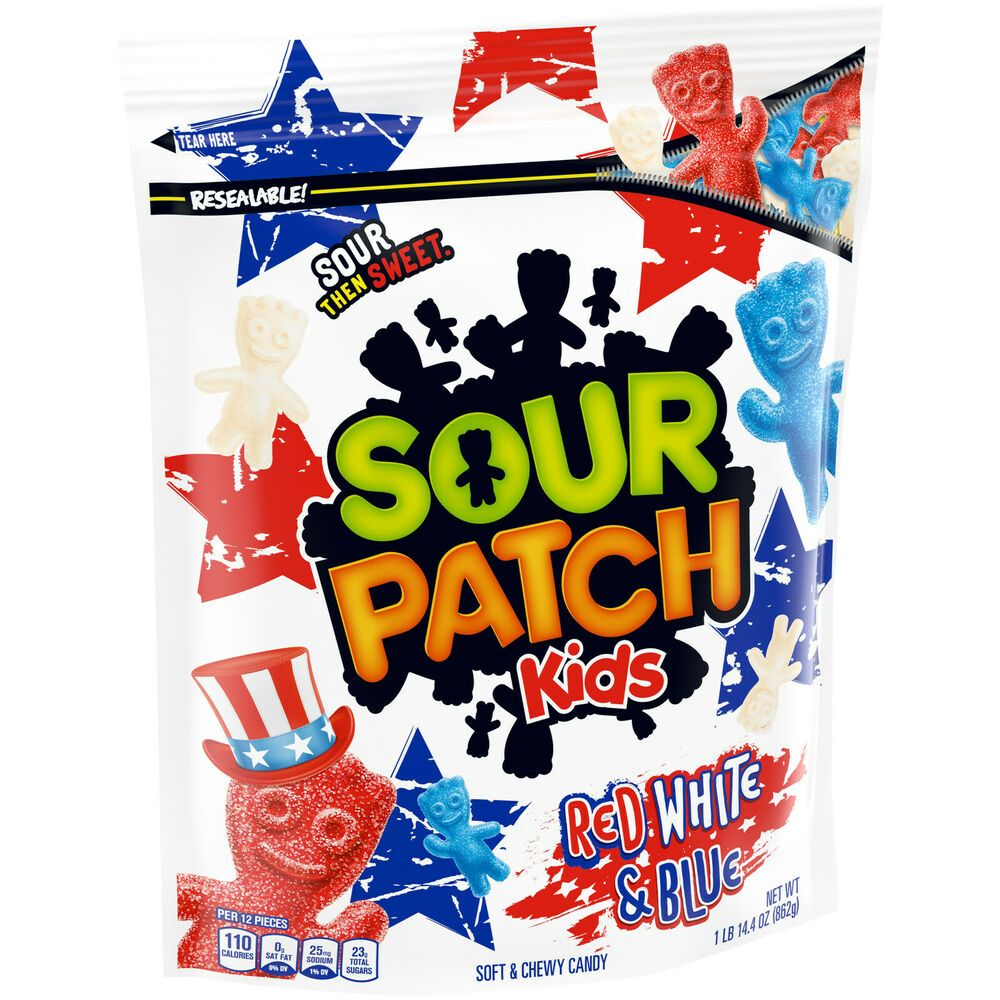 Giant Bag Of Red White Blue Sour Patch Kids Almost 2 Pounds Resealable Bag 03 21 Ebay In 2021 Sour Patch Kids Sour Patch Chewy Candy