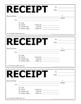 This Simple Cash Receipt Features The Word Receipt In Large Block Letters Free To Download And Print Receipt Template Free Receipt Template Receipt