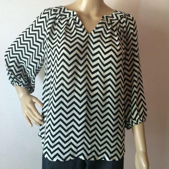 Ezra for Anthropologie blouse sheer blouse is black/white chevron print. 3/4 length elastic end sleeve. bottom hem is scoop. Anthropologie Tops Blouses