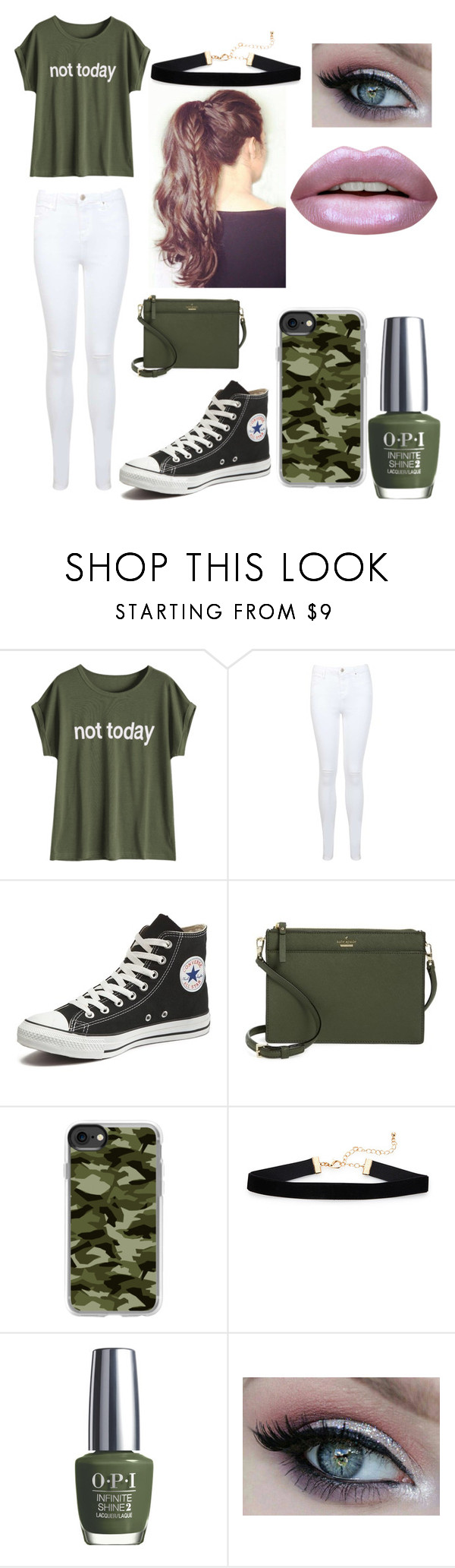 """new outfit"" by ellzmae ❤ liked on Polyvore featuring Miss Selfridge, Converse, Kate Spade, Casetify, OPI and Huda Beauty"