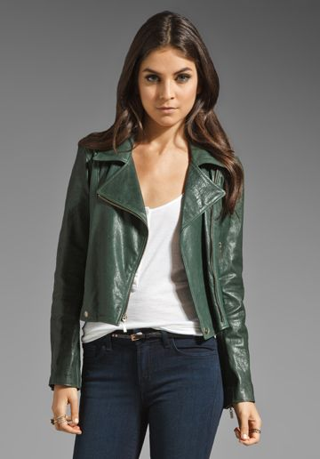 f0a24c275 JACKSON Washed Italian Lamb Skin Leather Jacket in Hunter Green at ...